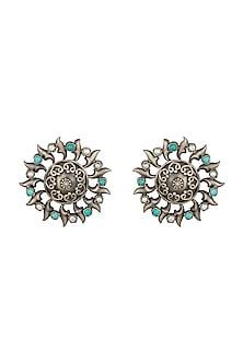 Silver Plated Turquoise Stone Stud Earrings by Zevar by Geeta