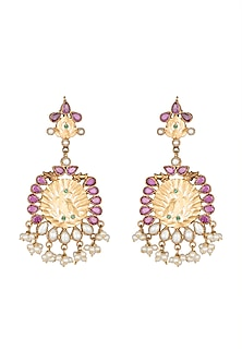 22Kt Gold Plated Pearl Earrings by Zevar by Geeta