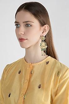 22 Kt Gold Plated Emerald Earrings by Zevar by Geeta