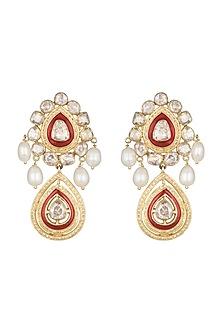 22Kt Gold Plated Meenakari Earrings by Zevar by Geeta
