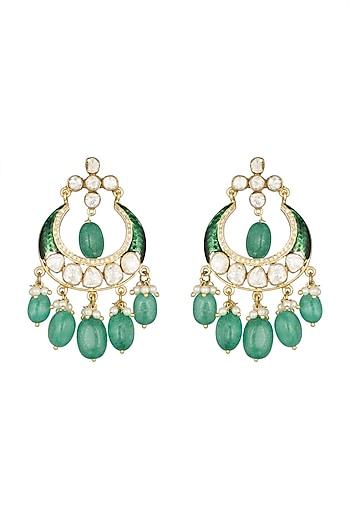 22 Kt Gold Plated Enameled Chandbali Earrings by Zevar by Geeta