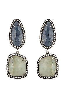 Silver Plated Sapphire Victorian Earrings by Zevar by Geeta