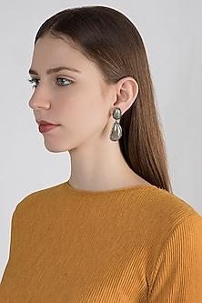 Silver Plated Diamond & Emerald Earrings by Zevar by Geeta