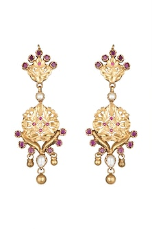 22 Kt Gold Plated Ruby Earrings by Zevar by Geeta