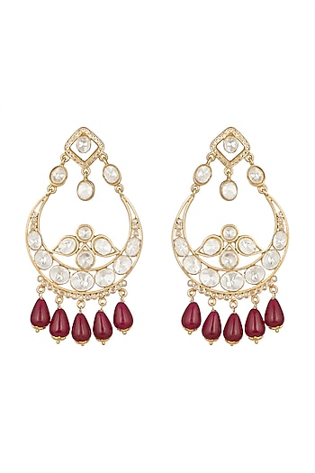 22 Kt Gold Plated Chandbali Earrings by Zevar by Geeta