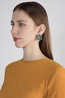 Silver Plated Emerald Stud Earrings by Zevar by Geeta