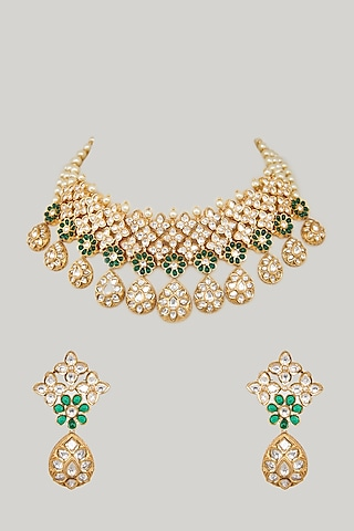 Gold Plated Pearls Necklace Set by Zevar By Geeta