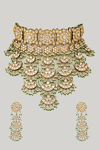 Gold Plated Bridal Choker Necklace Set by Zevar By Geeta