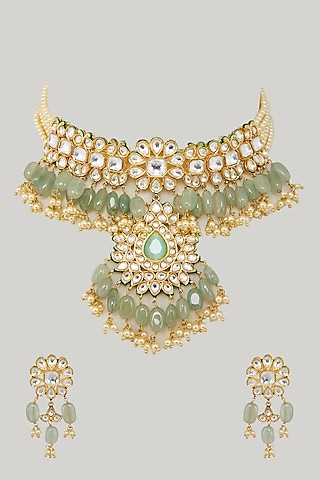 Gold Plated Green Beaded Necklace Set by Zevar By Geeta