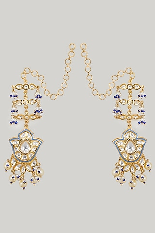 Gold Plated Meenakari Earrings by Zevar By Geeta