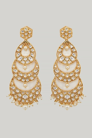 Gold Plated Dangler Earrings by Zevar By Geeta