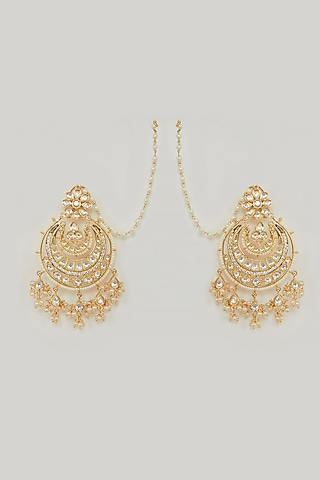 Gold Plated Kundan Earrings by Zevar By Geeta