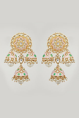 Gold Plated Kundan Jhumka Earrings by Zevar By Geeta