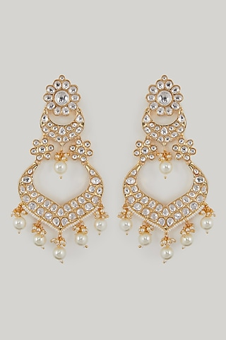 Gold Plated Pearl Chandbali Earrings by Zevar By Geeta