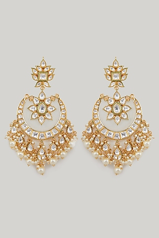 Gold Plated Carved Kundan Earrings by Zevar By Geeta