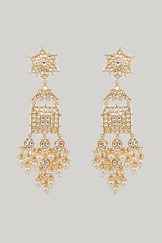 Gold Plated Kundan Dangler Earrings by Zevar By Geeta