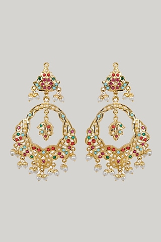 Gold Plated Pearl & Stones Chandbali Earrings by Zevar By Geeta