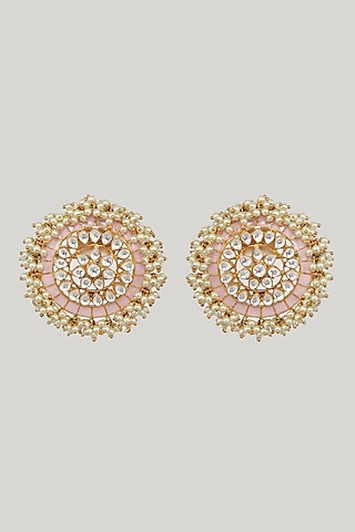 Gold Plated Kundan Stud Earrings by Zevar By Geeta