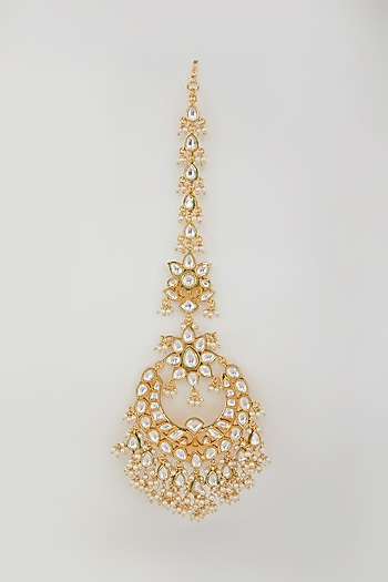 Gold Plated Pearl Drops Maangtikka by Zevar By Geeta