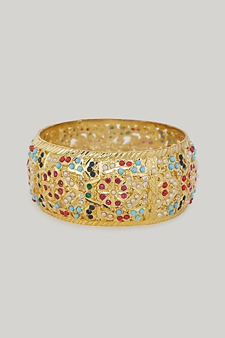 Gold Plated Kundan Kada Bangle by Zevar By Geeta