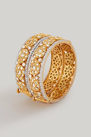 Gold Plated Paisley Motif Bangles by Zevar By Geeta