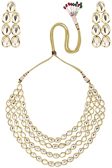 Gold finish kundan 4-line necklace set by Zevar by Geeta