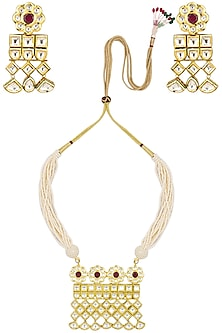Gold finish kundan and pearl multiple line necklace set by Zevar by Geeta