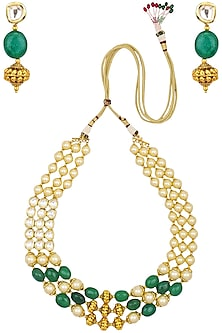 Gold finish kundan stone three line traditional necklace set by Zevar by Geeta