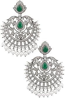 Antique silver finish Victorian look chandbali earrings by Zevar by Geeta