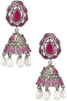 Antique silver finish victorian style jhumki earrings by Zevar by Geeta