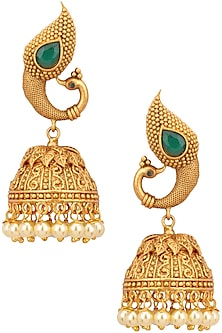 Gold finish peacock top traditional jhumki earrings by Zevar by Geeta