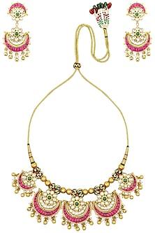 Gold Finish Kundan Pankhi Necklace Set by Zevar by Geeta