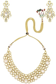 Gold Finish Kundan and Diamond Necklace Set by Zevar by Geeta