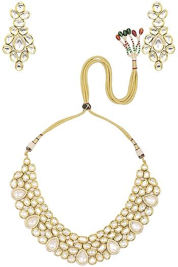 Gold Finish Kundan and Diamond Necklace Set by Zevar by Geeta