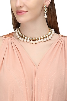 Gold Plated Kundan and Pearl Embellished Necklace Set by Zevar by Geeta