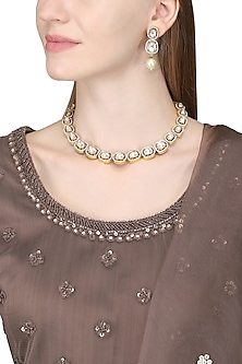 Gold Plated Necklace Set by Zevar by Geeta