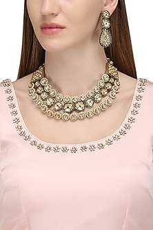 Gold Plated Blue Meena Embellished Necklace by Zevar by Geeta