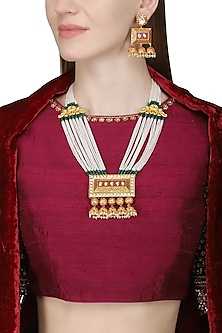 Gold Plated Necklace Set with Geometrical Pendant by Zevar by Geeta