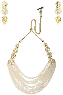 Gold Plated Multiple Strings Necklace with Long Danglers by Zevar by Geeta