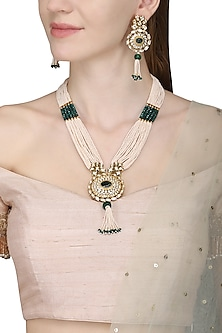 Gold Plated Pearls and Piroi Embellished Necklace Set by Zevar by Geeta