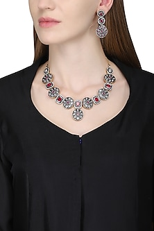Silver Finished White and Ruby Stone Embellished Necklace Set by Zevar by Geeta