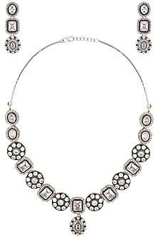 Silver Finished Diamond Colored Stone Embellished Necklace Set by Zevar by Geeta