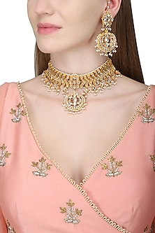 Gold Plated Choker with Earrings by Zevar by Geeta
