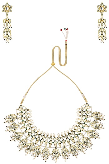 Gold Plated Kundan Necklace with Danglers by Zevar by Geeta