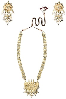 Gold Plated Pearl Embellished Rani Haar by Zevar by Geeta