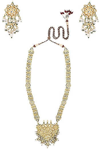Gold Plated Pearl Embellished Rani Haar by Zevar by Geeta