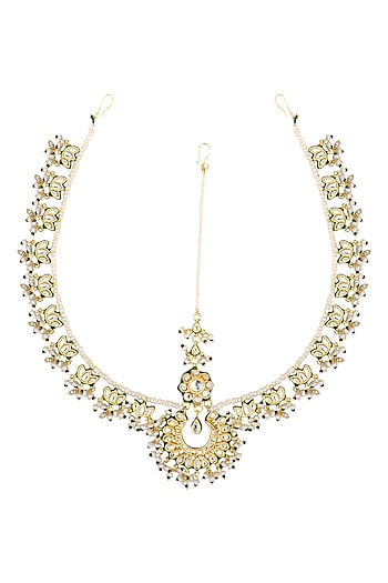 Gold Plated Kundan and Pearls Maathapati by Zevar by Geeta