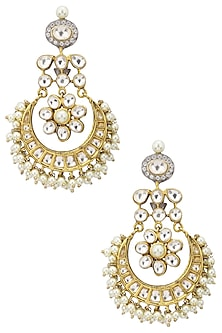 Gold Plated Kundan and Pearl Chandbali Earrings by Zevar by Geeta