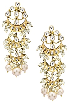 Gold Plated Kundan and Pearls Tiered Earrings by Zevar by Geeta