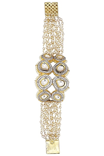 Gold Plated Kundan and Pearls Bracelet by Zevar by Geeta